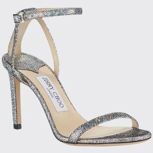 NWT$795 Jimmy Choo Minny 85 Metallic Leather Heels
